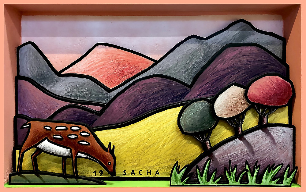 ©Sacha Schwarz, Pastoral, 2019, Acrylic, coloured pencil, mixed media on wood, 60x85cm