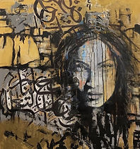 Manal Deeb, Golden, 2015 Mixed media and acrylic on wood 99x99cm