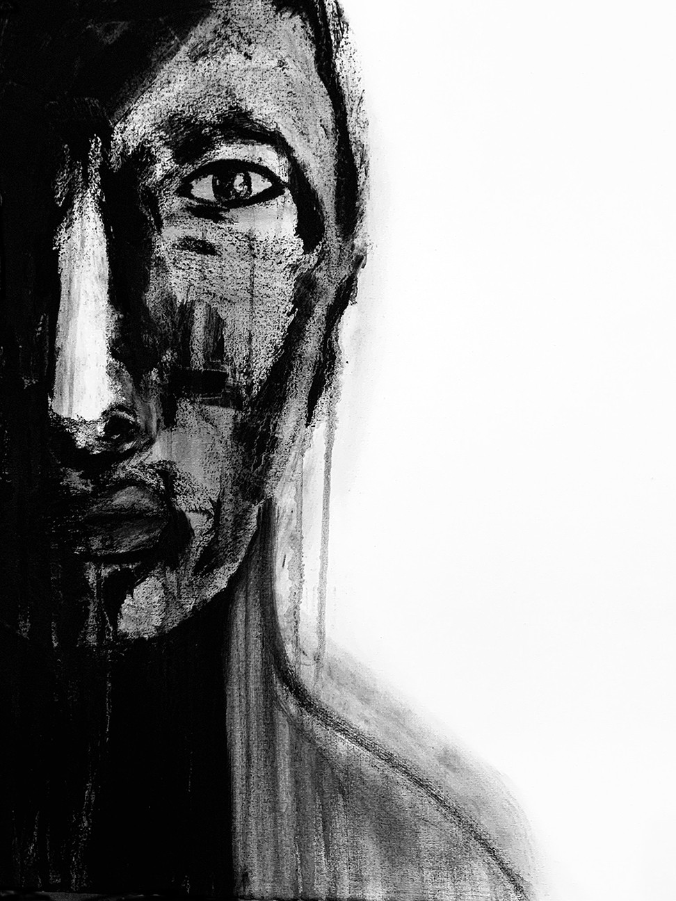 Cherie Redlinger, Black Tears, 2021, Charcoal, water and acrylic on canvas, 30x20 inches