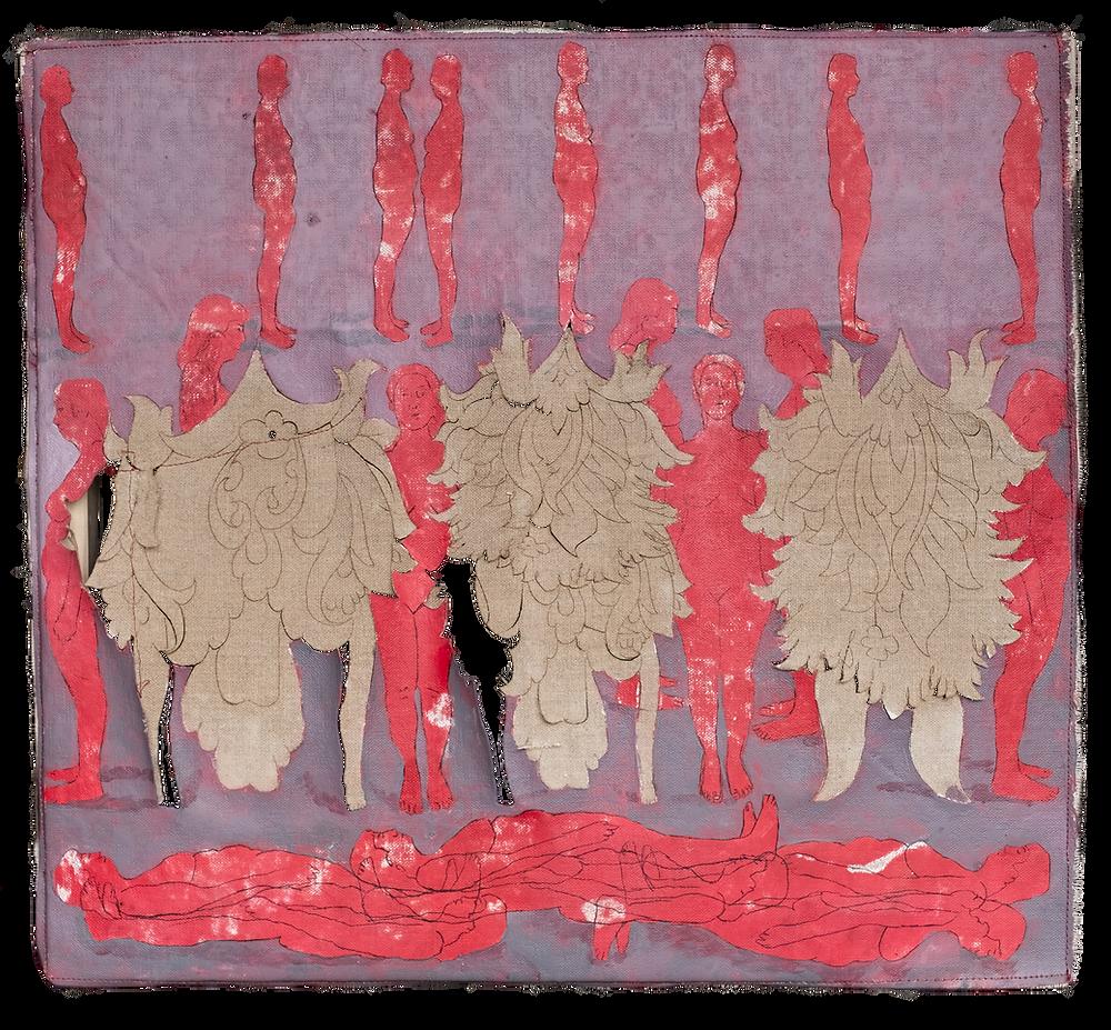 ©Sara Madandar, Social Distance, 2020, Laser, acrylic and stitchery on linen, 17 x 18 ½ inches