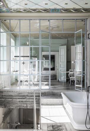 SANTORIUM glass og jernvegg / D&D badekar i sanatorium lys grønn