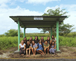 Building with the girls in Fiji