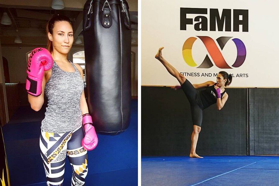 Coach Kirstie working on her kickboxing skills in 2016 when she first joined FaMA.