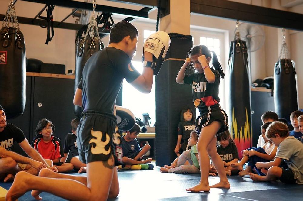 fama singapore kids martial arts girls muay thai little tigers class