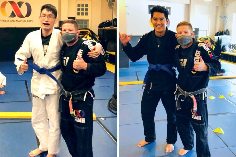 fama singapore bjj brazilian jiu jitsu blue belt promotion with professor robyn