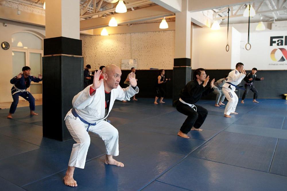 fama singapore muay thai bjj brazilian jiu jitsu squats warm up