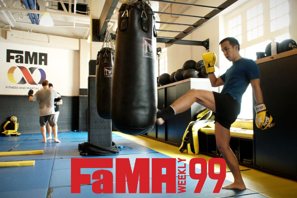 fama weekly 99 singapore muay thai front kick teep on bag