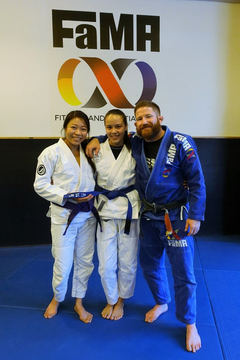 candy heng fama singapore fitness and martial arts bjj brazilian jiu-jitsu ladies purple belt with kinaree adkins and robyn goudy