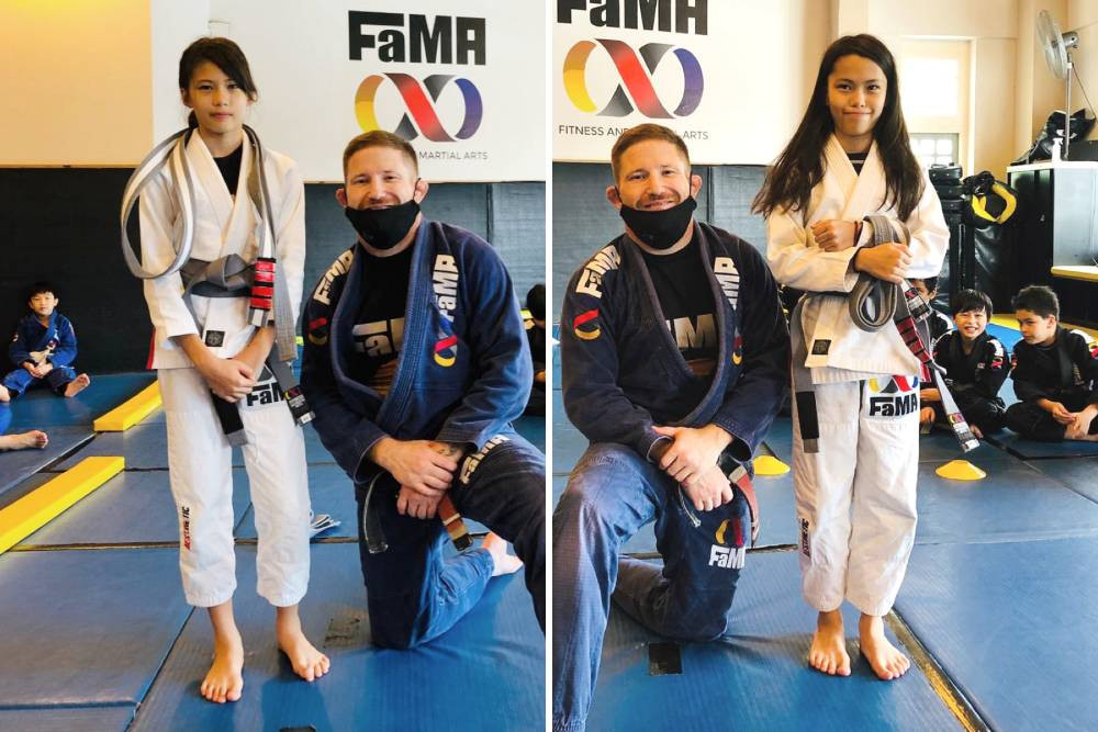fama singapore kids martial arts bjj brazilian jiu jijtsu belt promotion professor robyn