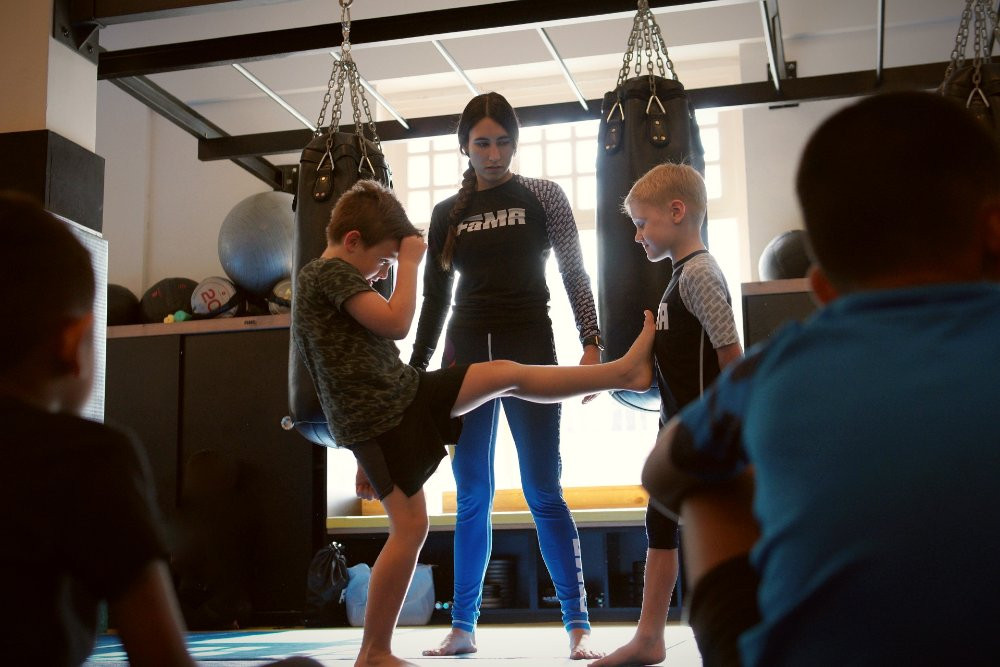 Coach Kirstie keeping a careful eye on her Little Tigers kids martial arts