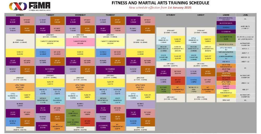fama singapore martial arts class schedule