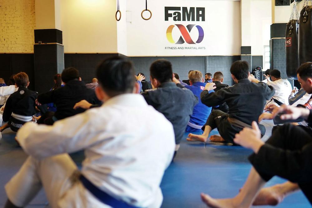 fama singapore bjj brazilian jiu jitsu bruno malfacine martial arts seminar warm up