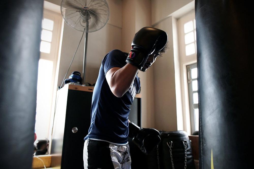 fama singapore muay thai boxing heavy bag punching