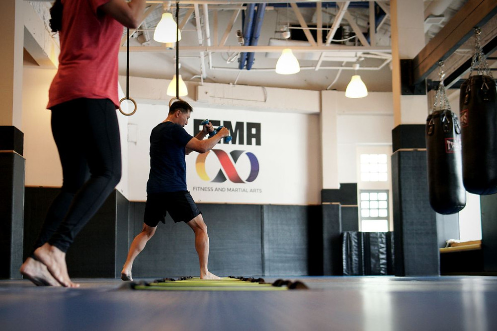 fama singapore boxing ladder fitness drills with dumbbellss