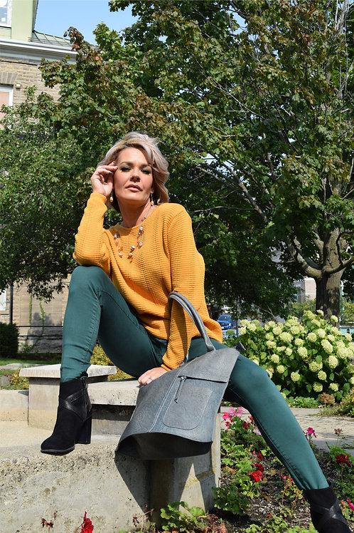 Organic Cotton Sweater in Mustard