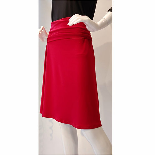 A-line Wide-Band Pull-on Skirt in Christmas Red by Bonita Bold