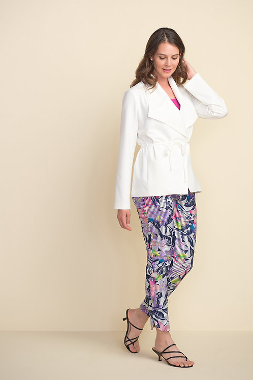Tropical Floral Stripe Pull-on Straight-leg Pant