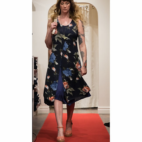 Sleeveless Round-neck Cotton Blend Floral Dress