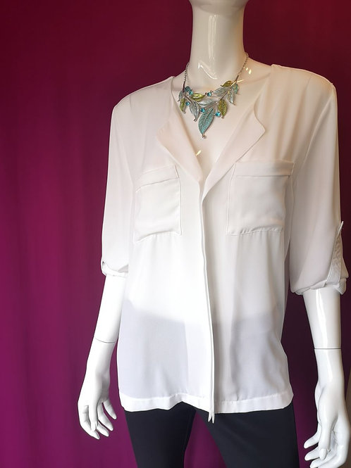 White Blouse with Pockets and Adjustable sleeve