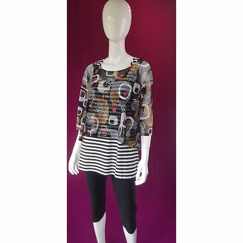 Zebra & Lion Cropped 2-pc Sleeved Top by Joseph Ribkoff