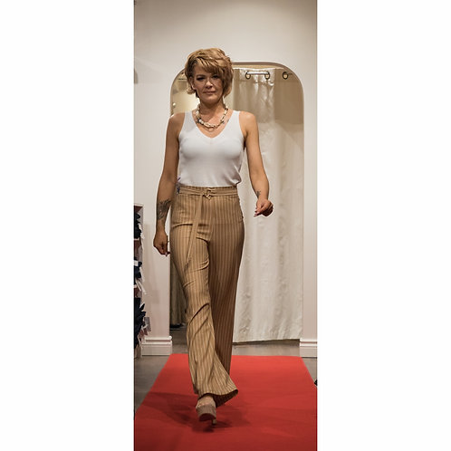 High-waisted Belted Pinstripe Summer Pant