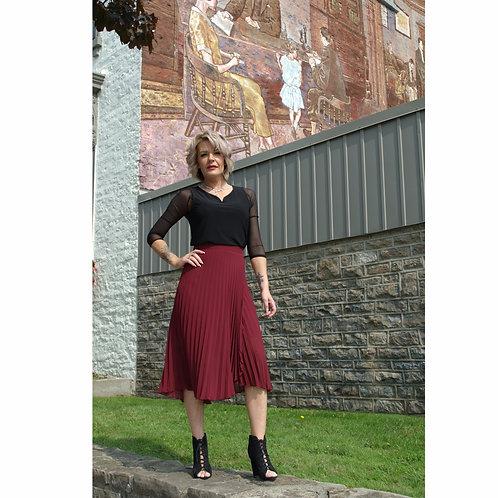 Pleated Wine Skirt