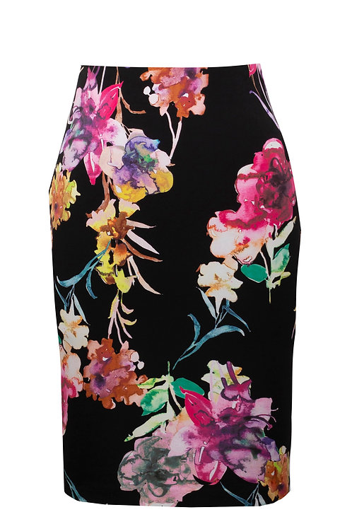 Pull-on Tropical Lightweight Scuba Skirt by Joseph Ribkoff