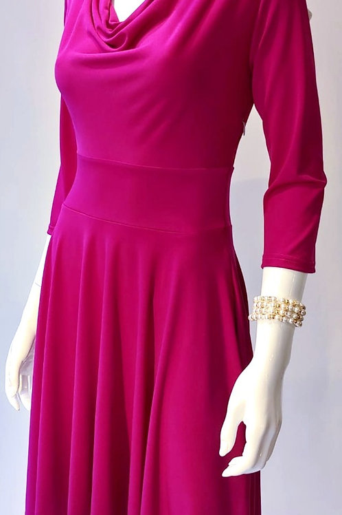 Cowl-neck A-line Dress in Magenta by Bonita Bold