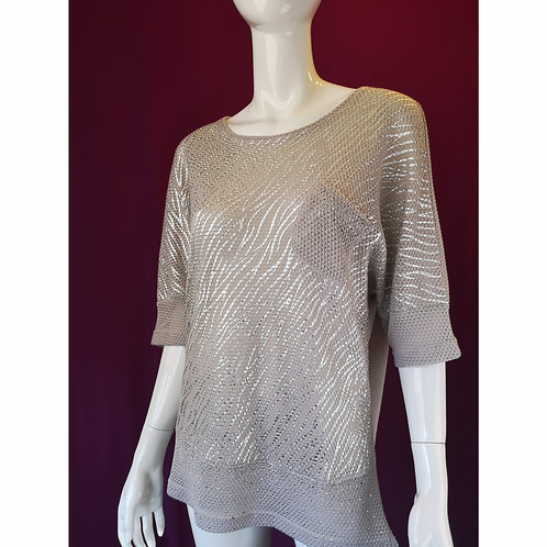 Silver Painted Summer Sweater in Sand