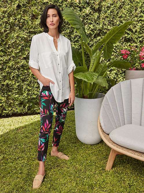 Tropical Leaf Multi Colour Flat-front Crop Pant by Joseph Ribkoff
