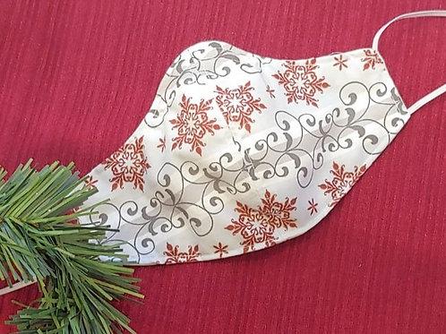 Red & Grey Cotton Snowflake Mask by Bonita Bold