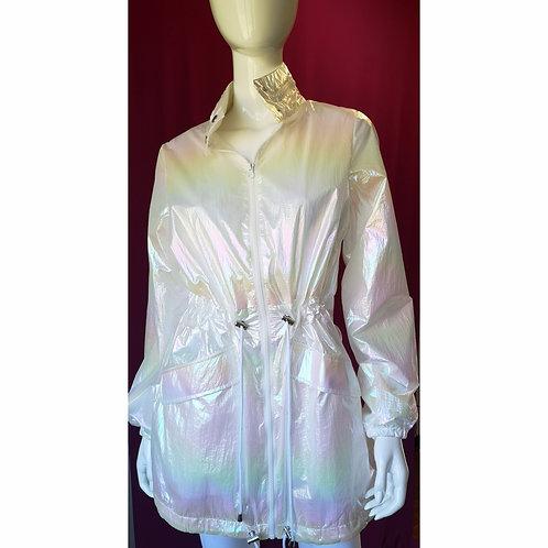 Iridescent White Drawstring Jacket w Hood
