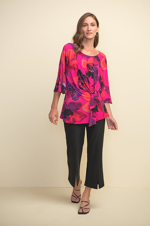 Tie-front 3/4 sleeve Floral Top by Joseph Ribkoff