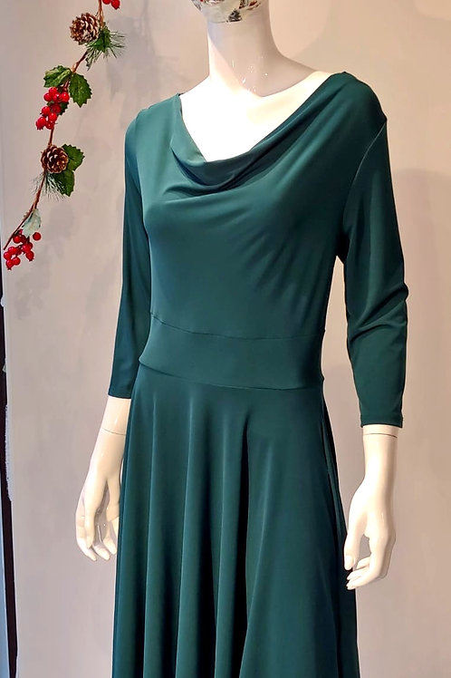 Cowl-neck A-line Dress in Emerald by BB