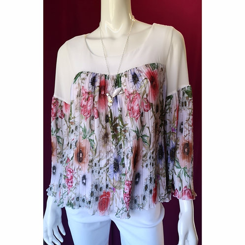 Pleated Floral Sleeved Summer Top