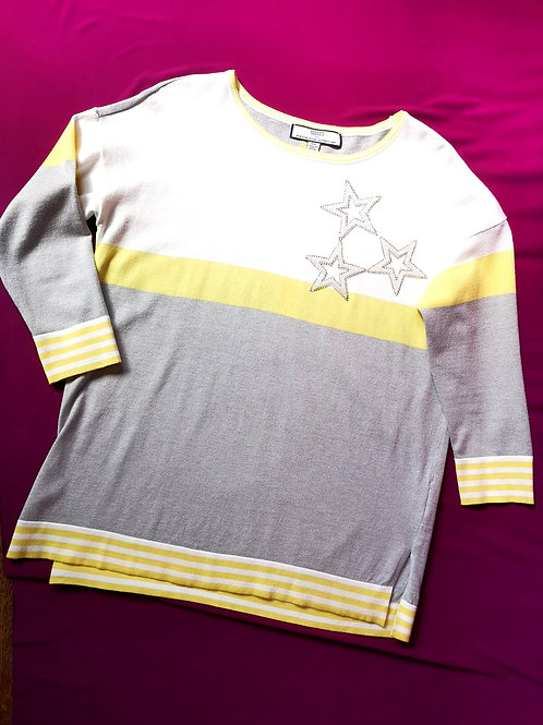 Soft Yellow Racer Stripe w Stars Sweater Top