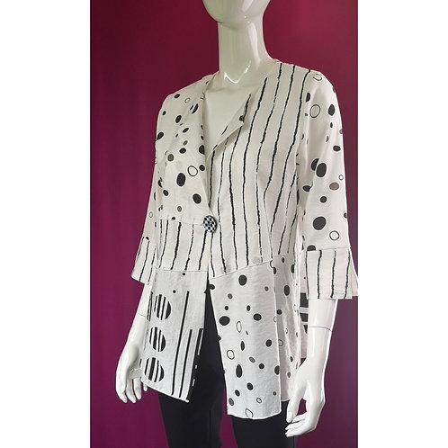 Asymmetrical Black & White Summer One-button Jacket