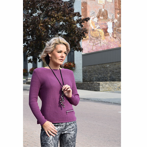 Plum Organic Cotton Ribbed Sweater with Zip Detail
