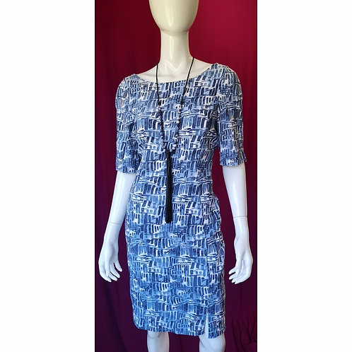 Blue Pen-strokes Sleeved Dress