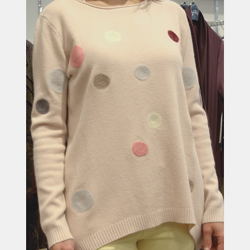 Polka Dot High-Low Sweater