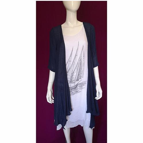 Sleeveless Sailboat Design w Duster Dress
