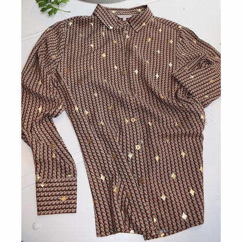Star gold foil-print fall blouse