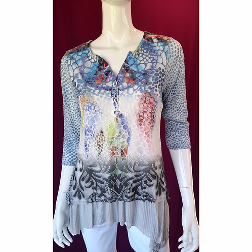V-neck Denim Multi Shadow Tunic