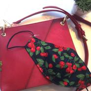 Vegan red purse cherries cotton mask bon
