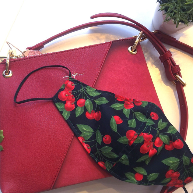 Vegan red purse cherries cotton mask bon