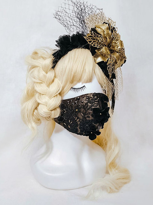 Miss Danger fashion mask - black and gold