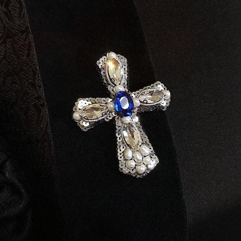 Gothic cross crystal brooch