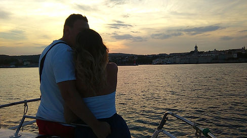 Romantic night boat ride
