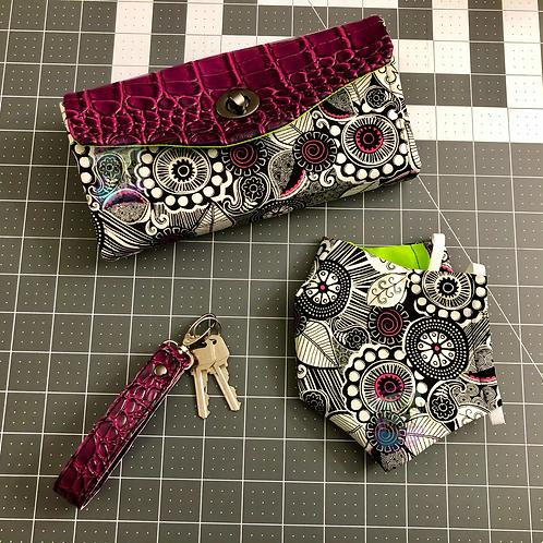 Floral Clutch Wallet & Mask Set