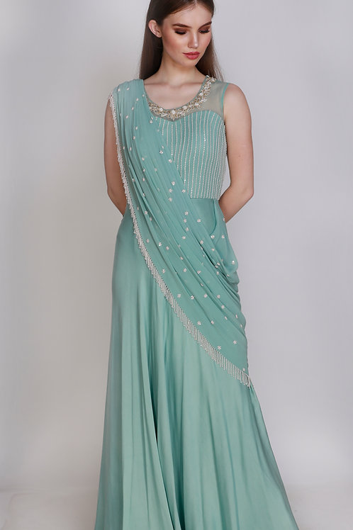 Pearl Embroidered Cocktail Saree